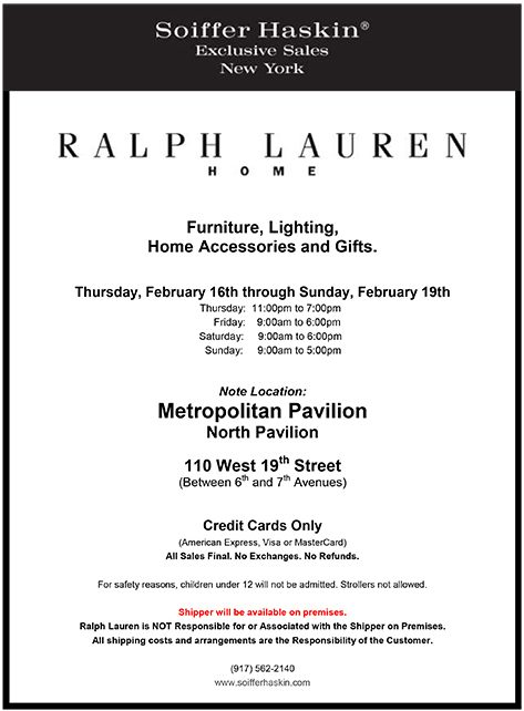 Ralph Lauren Home, a sale at Metropolitan Pavilion, North Pavilion, NYC, Feb. 16–19