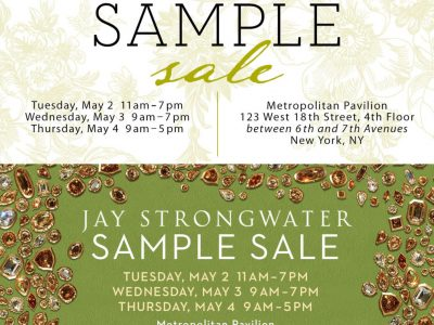 Information for the MacKenzie-Child and Jay Strongwater sample sale at Metropolitan Pavilion's Gallery in Chelsea, NYC