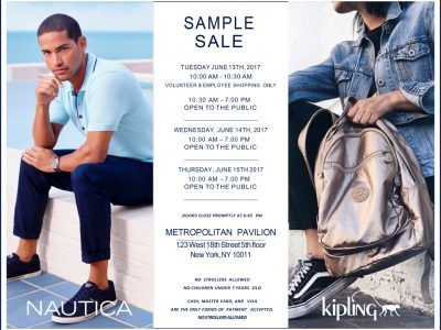Nautica and Kipling sample sale 2017 at Metropolitan Pavilion, The Level, New York, New York
