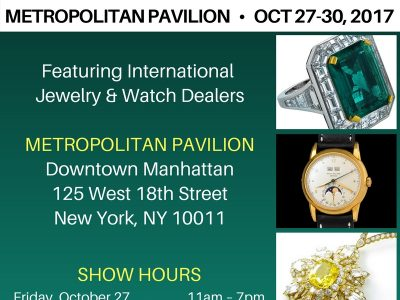 The New York City Jewelry & Watch Show returns to downtown Manhattan at Metropolitan Pavilion for its third edition October 27-30, 2017.