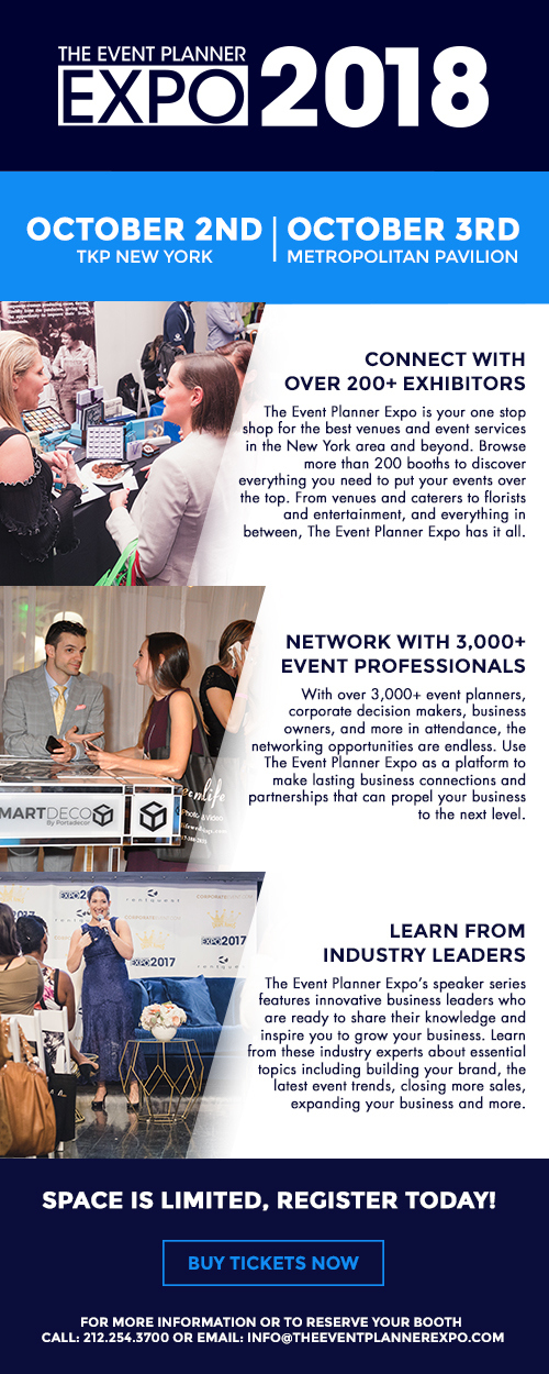 The Event Planner Expo, October 2–3, 2018, Metropolitan Pavilion